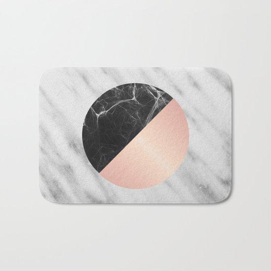 Carrara Italian Marble Black and Pink Bath Mat