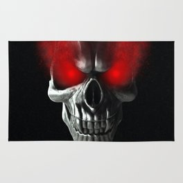 Skull with glowing red eyes Rug