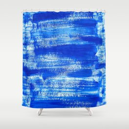 Cool & Calming Cobalt Blue Paint on White  Shower Curtain