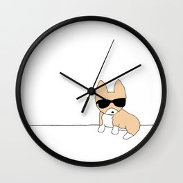 Corgi Dog in Sunglasses Wall Clock