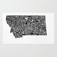 montana Area & Throw Rugs featuring Typographic Montana by CAPow!