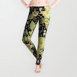 Navy Blue, Yellow, White & Green Floral Pattern Leggings