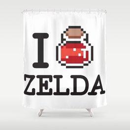 I LOVE ZELDA Black Shower Curtain