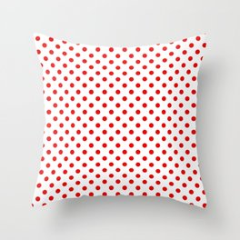 Polka dots Red dots over white Throw Pillow
