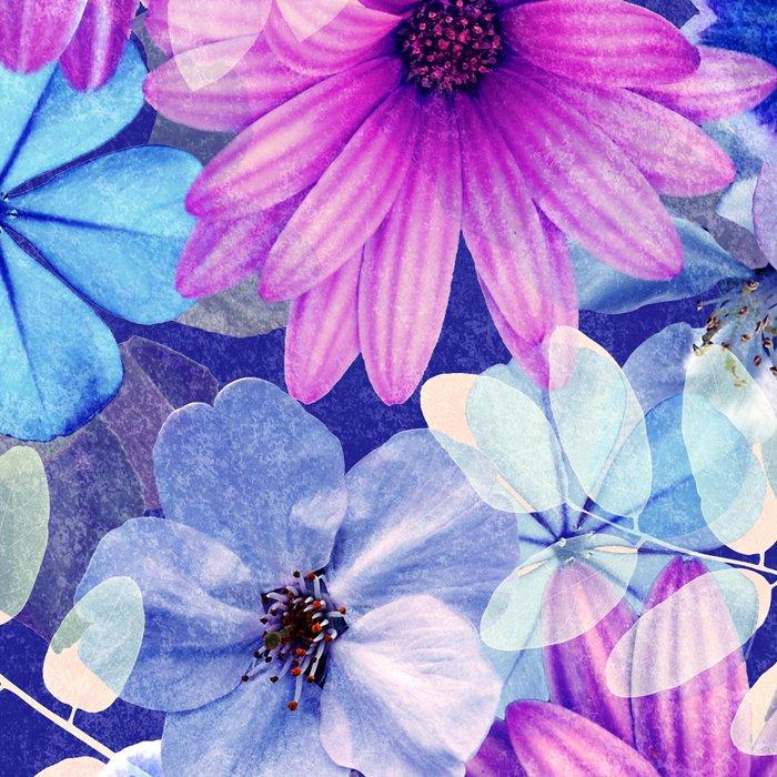 Dark pink and blue floral pattern Leggings