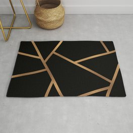 Black and Gold Fragments - Geometric Design Rug