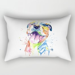 Pit Bull, Pitbull Watercolor Painting - The Softer Side Rectangular Pillow