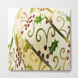 Christmas ribbon background Metal Print