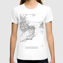 Rio de Janeiro Map White T-shirt