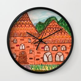 Cozy Little Cottage Drawing Wall Clock