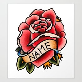 Name Rose Art Print