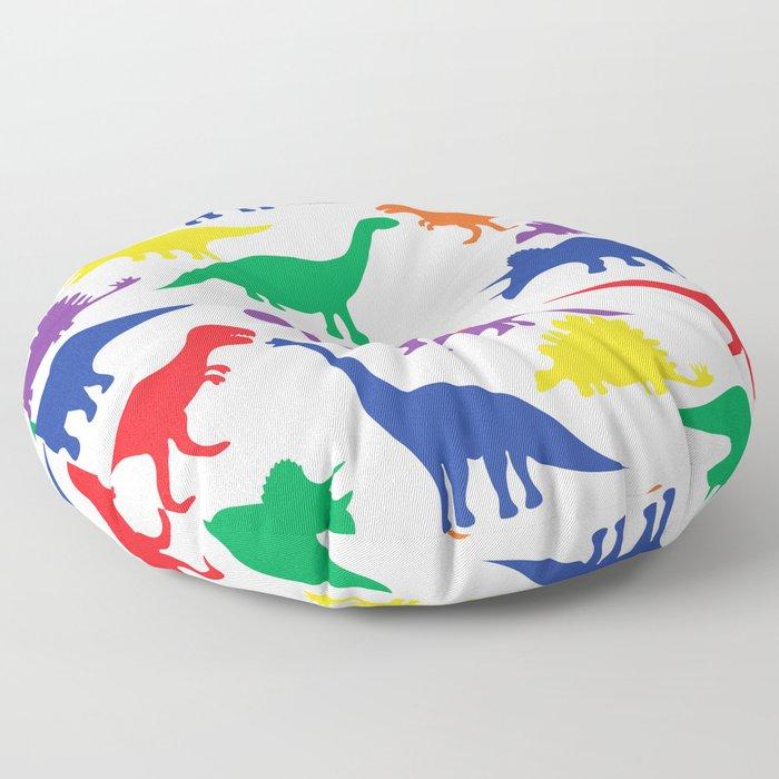 Dinosaurs - White Floor Pillow