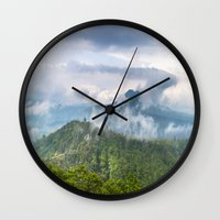 indonesia Wall Clocks featuring Mt Batur - Bali, Indonesia by Jennifer Stinson