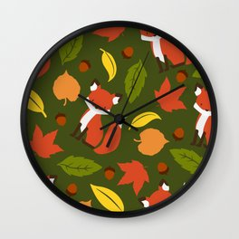 Fox Jumble - Green Wall Clock