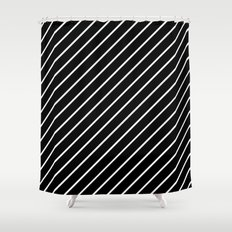 Hot 80s Style Diagonal Black and White Geometric Pattern Shower Curtain