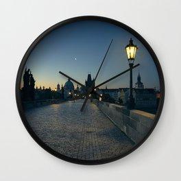 Charles Bridge at Blue Hour Wall Clock