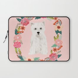 Westie floral wreath dog breed pure breed pet portrait Laptop Sleeve