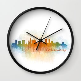 Columbus Ohio, City Skyline, watercolor  Cityscape Hq v3 Wall Clock