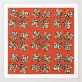 Butterflies and Camellias on Red Pattern Art Print
