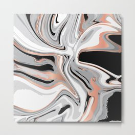 Liquid Marble with Copper Lines 015 Metal Print