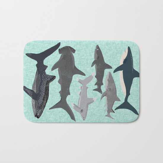 Sharks nature animal illustration texture print marine biologist sea life ocean Andrea Lauren Bath Mat