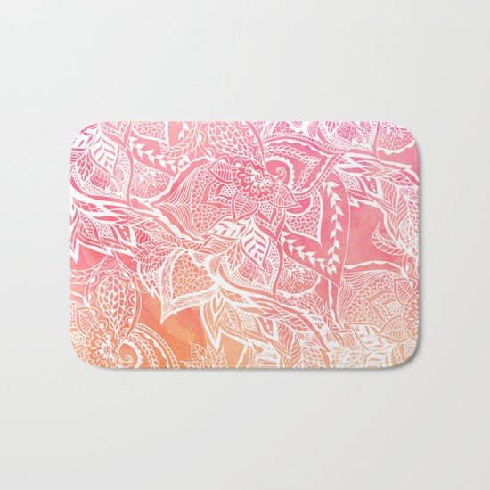 Modern pink coral ombre sunset watercolor floral white boho hand drawn pattern Bath Mat