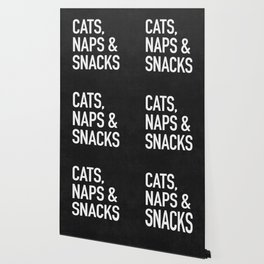 Cats, Naps and Snacks - black version Wallpaper