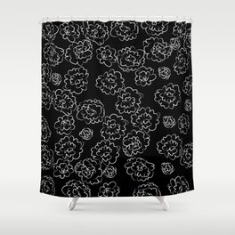 Black and White Rose Doodles Shower Curtain
