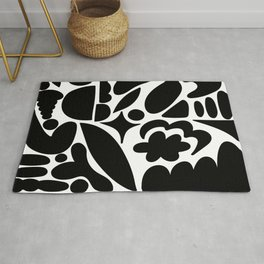 Modern Organic Bold Botanical Abstract / Black and White Rug