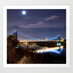 GWB with Moon (Color) Art Print