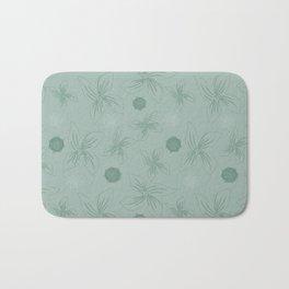 Mint grey green tropical flower print Bath Mat