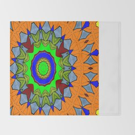 Lovely Healing Mandala  in Brilliant Colors: Orange, Royal Blue, Gray, Olive, Green, and Maroon Throw Blanket