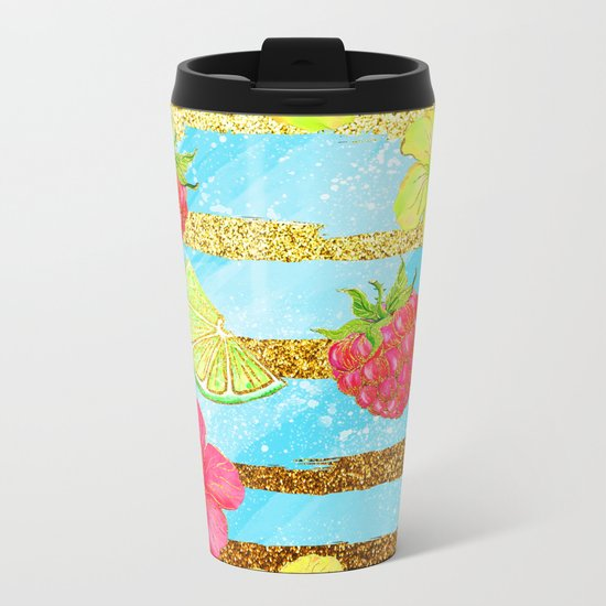Summer Glitter #3 Metal Travel Mug