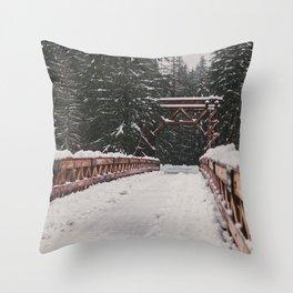 Nisqually River Suspension Bridge Throw Pillow