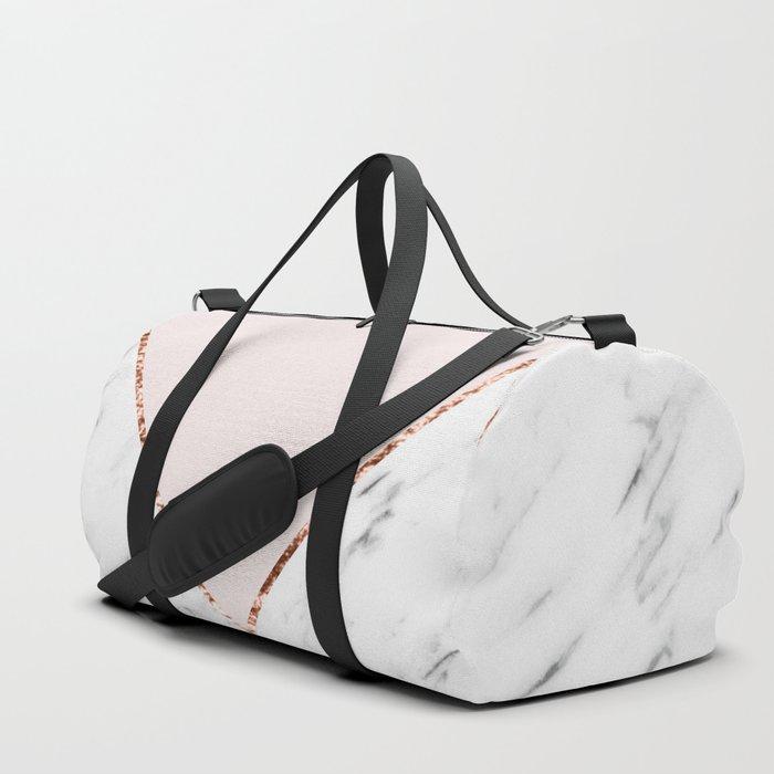 Peony blush geometric marble Duffle Bag