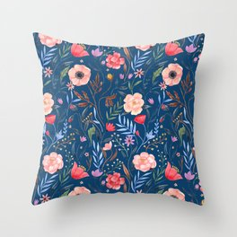 Blooming Flora Throw Pillow