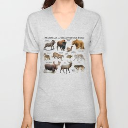 Mammals of Yellowstone Park Unisex V-Neck