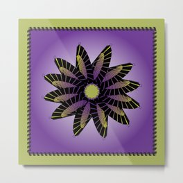 Purple Stitched Flower Metal Print