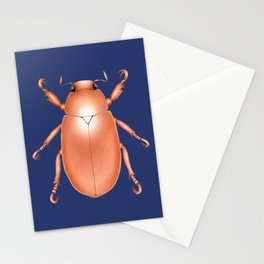 Copper Beetle on Navy Background Stationery Cards