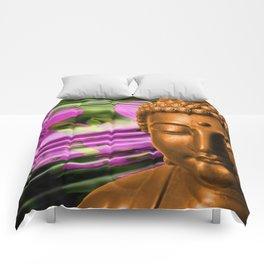 Buddha Head & Flowers in Rippling Water Comforters