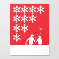 Penguin Couple Dancing on Snow Canvas Print
