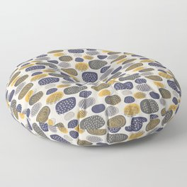 Abstract Circles in Mustard, Charcoal, and Navy Floor Pillow