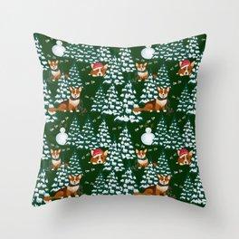 Corgis in the winter mountains - green pattern Throw Pillow