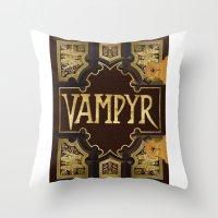 buffy the vampire slayer Throw Pillows featuring Vampyr Book -- Buffy the Vampire Slayer by BovaArt