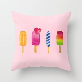 Popsicle - Ice Lolly - Ice Cream - Watercolor Throw Pillow