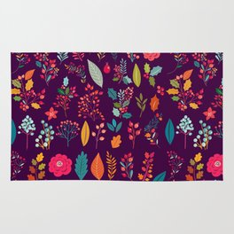 Autumn orange purple pink berries holly floral Rug