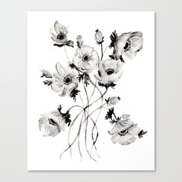 GREYSCALE POPPIES Canvas Print