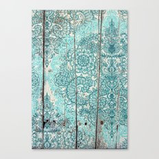 Teal & Aqua Botanical Doodle on Weathered Wood Canvas Print