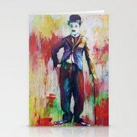 charlie chaplin Stationery Cards featuring Charlie Chaplin by Marta Zawadzka