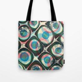 Transparent dots, cyan & pink, marble Tote Bag